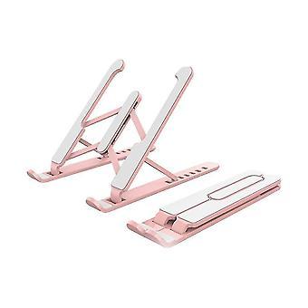 Vaaleanpunainen kannettava kannettava jalusta, taitettava tukialusta kannettavalle tietokoneelle ja tabletille az8872