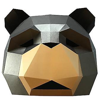 Hauska Teddy-koiran naamio paperi eläinpää naamio Halloween Cosplay Puku Juhla Rekvisiitta