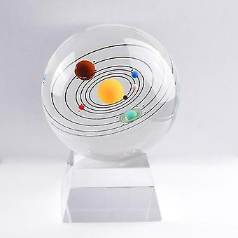 With crystal base solar system miniatures figurines 3d crystal ball desk decoration home decor gift for holiday fa1516