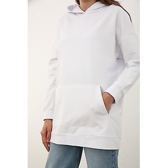 Hooded Basic Sweatshirt Tunic