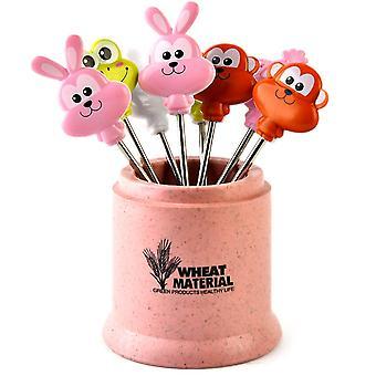 8 pcs stainless steel fruit fork, fruit toothpicks(Pink)