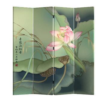 Hieno aasialainen viiltävä kiinalainen itämainen huoneenjakaja taittuva yksityisyysnäyttö 4 paneeli Lotuspond L160xH180cm