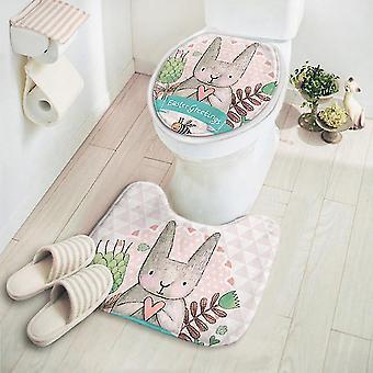 2pcs / مجموعة لطيف الكرتون السجاد غير زلة Pedestal مات البساط غطاء غطاء المرحاض حصيرة