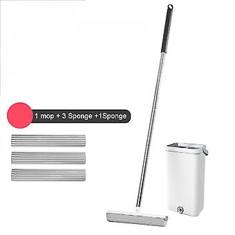 Handleless Mop With Replacement Bucket For Parquet Floor, High Water Absorption Home Cleaning
