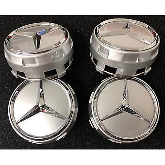 AMG Mercedes Benz Alloy SILVER Badges Wheel Centre Caps 75mm 4PCS