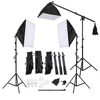 Photographie 3PC Softbox Studio Lighting Kit 135W Ampoules et Boom Arm Stand Noir