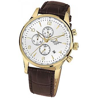 Jacques Lemans Brown Genuine Leather 1-1844ZD Reloj de hombre