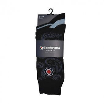 Lambretta 3 pack sock paisley - black/light indigo