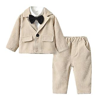 Baby Boy Gentleman Suit Birthday Party Clothes Cotton Formal Outfit
