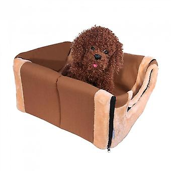 Pet House Brown Dog Bed Pet Cats Cushion Washable Sleeping Kennel Pet Supplies