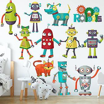 Cartoon Robot Naklejka ścienna Strona główna Naklejka Przedszkole Decor Tapeta