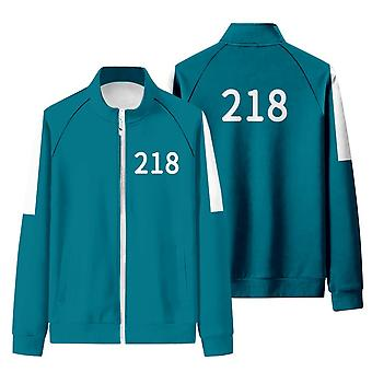 Iwa51 Squid Game Matching Tracksuit With Stand-up Collar And Zip-up Sweatshirt