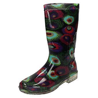Ladies Spot On Calf High Peacock Print Wellington Boots