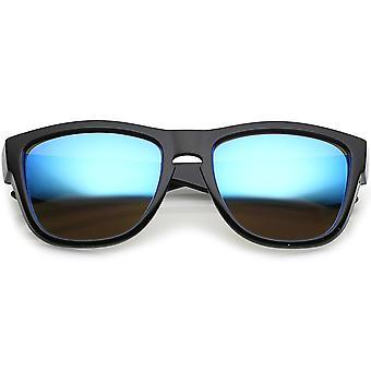 Klassieke hoorn omrande zonnebril met dikke armen Keyhole gespiegelde vierkante Lens 54mm