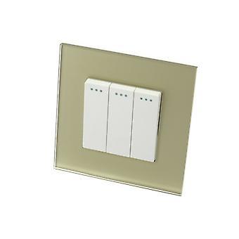 I LumoS Luxury Gold Glass Frame 3 Gang 1 Way Rocker Wall Light Switches