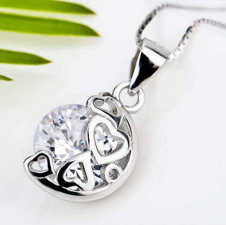 Affici Sterling Silver Pendant & Chain 18ct White Gold Plated  Hearts & Diamond CZ Gem