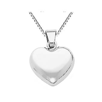 14K White Gold Puffed Heart Pendant Necklace with Chain