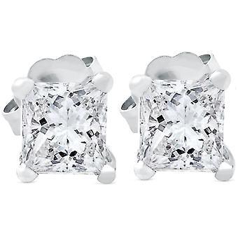 Diamond Princess Cut Real 1ct goujons 14K or blanc