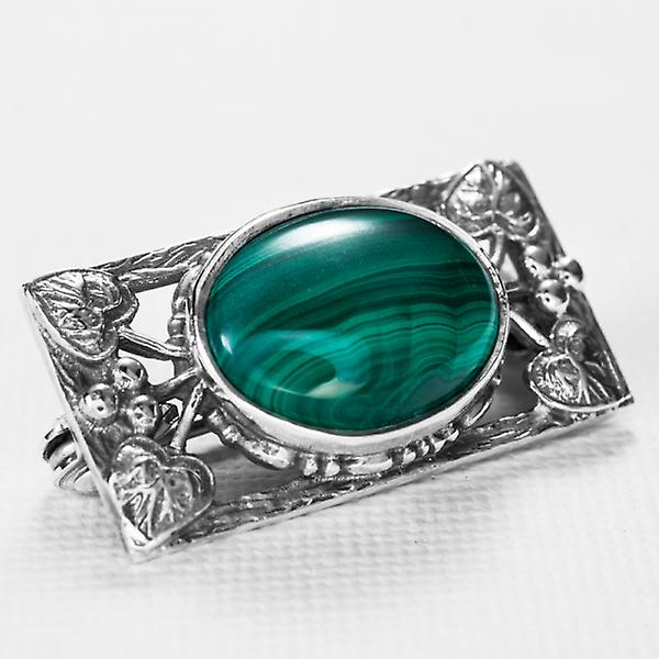 Shipton and Co Ladies Shipton And Co Silver And Malachite Brooch OQ0150ML