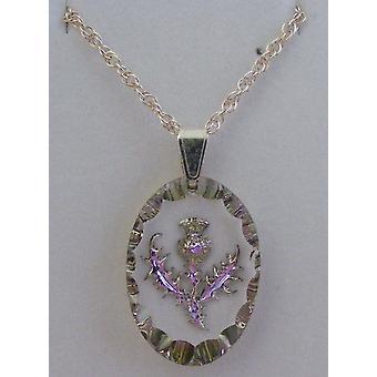 Heather Medium Oval Thistle Crystal Pendant