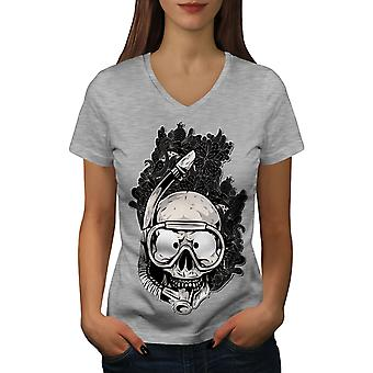Funy Diving Women GreyV-Neck T-shirt | Wellcoda