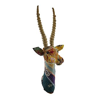 Recycled Indian Sari Fabric Wrapped Gazelle Head Wall Mount