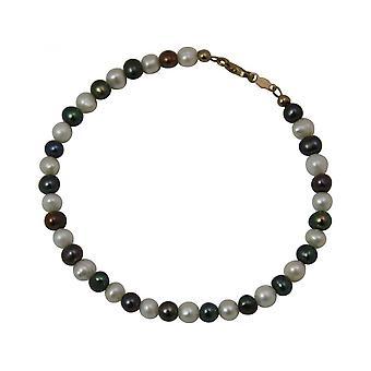 Tahiti - grå-hvit - gull - belagt-perle kvinner - armbånd - 19 cm