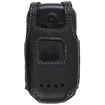 Wireless Solutions - Leather Case for Samsung Cricket Cal Comp A200 (Black)