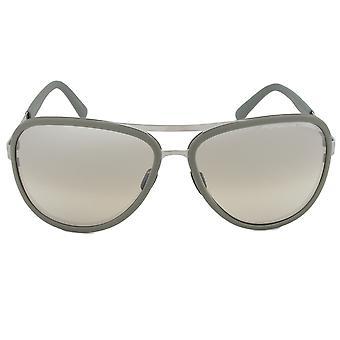 Porsche Design P8567 D Titanium Sunglasses | Olive Gunmetal Frame | Brown Lens