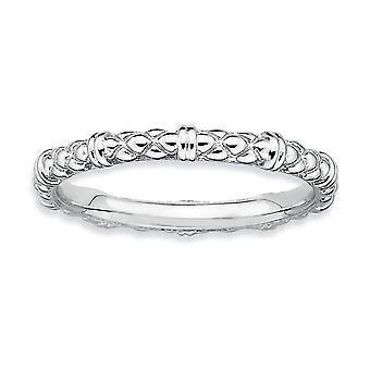925 Sterling Argent Poli à motifs Rhodium plaqué Expressions Stackable Expressions Rhodium Cable Ring Bijoux Cadeaux pour les femmes -