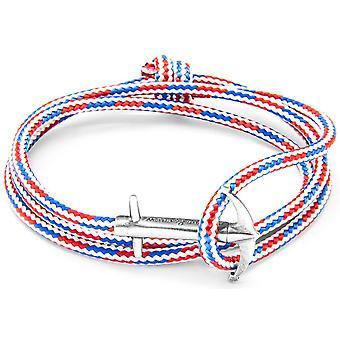 Anker og besætningen Admiral sølv og reb armbånd - rød/hvid/blå