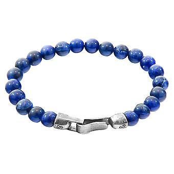 Anchor and Crew Outrigger Sodalite Stone Bracelet - Blue/Silver