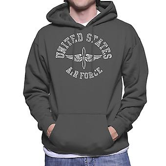 US Airforce Winged Propeller White Text Men's Hooded Sweatshirt