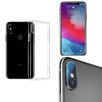 アップルのiPhone XS最大の電話ケースカバーケースカメラレンズ9Hタンク保護ガラスクリア