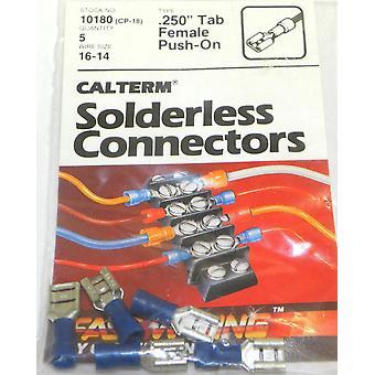 """Calterm 10180 (CP-18). 250"""" onglet, pousser sans soudure connecteur femelle 5 Pcs"""