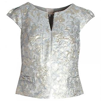Paola Collection Embossed Capped Sleeve Evening Top