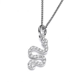 """Cavendish French Silver and CZ Serpent Pendant with 16-18"""" Chain"""