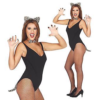 Donna 3 pezzo leopardo Set costume accessorio