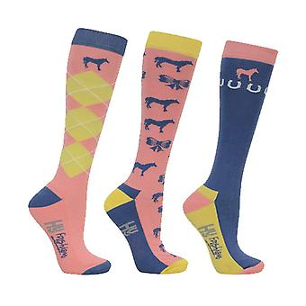 HyFASHION Adults Newmarket Horse Print Socks (Pack of 3 Pairs)