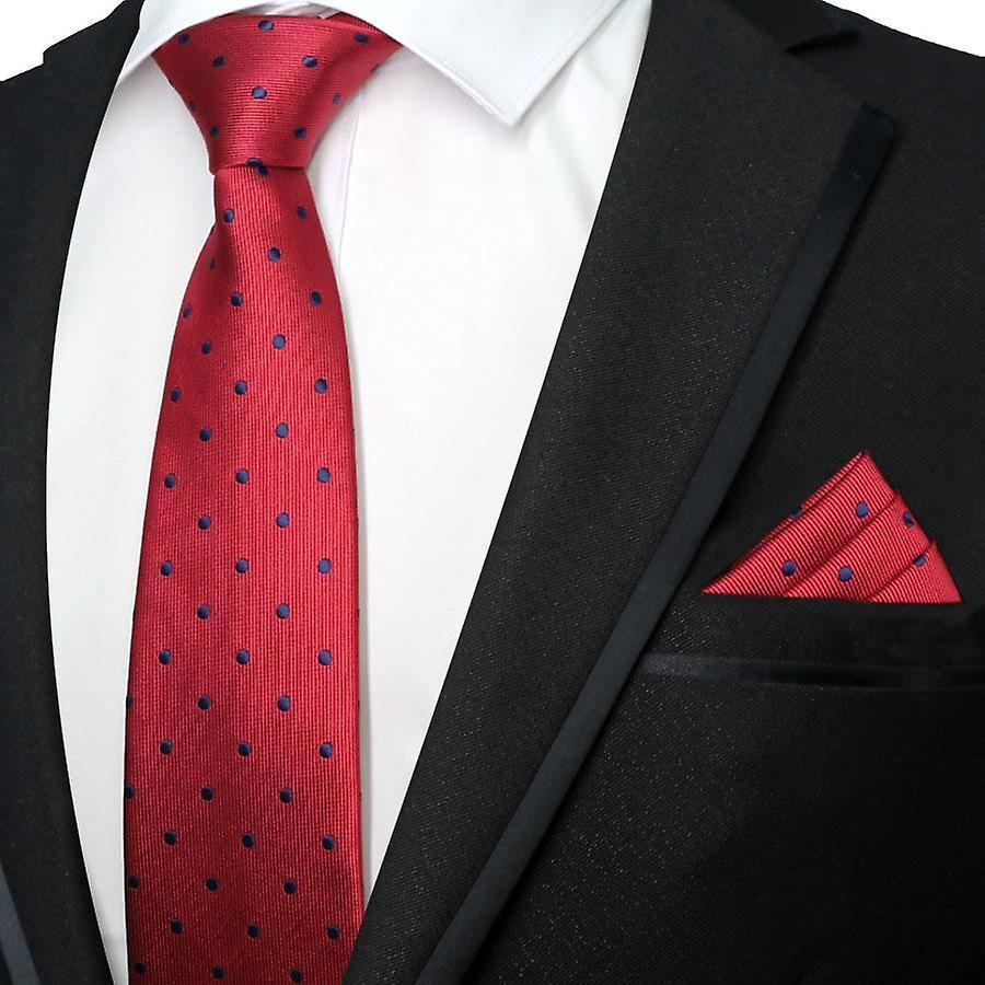 Deep red & navy blue polka dot necktie & pocket square