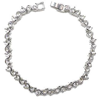 VIP Silver Plated Crystal Set Tennis Bracelet