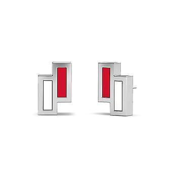 University Of Houston Sterling Silver Asymmetric Enamel Stud Earrings In Red and White