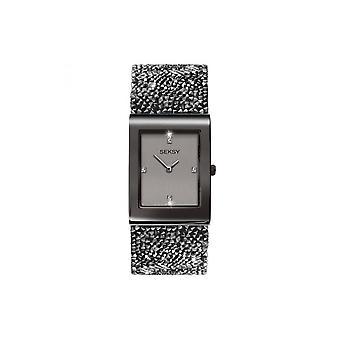 Seksy Ladies Seksy Rocks 2654 Rectangular Black Bezel And Black Swarovski Crystal Watch