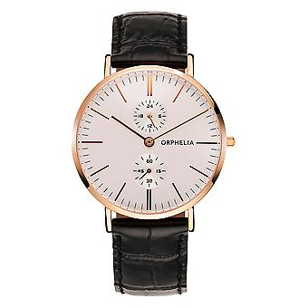 ORPHELIA Mens Multi Dial Watch suave couro preto OR71502