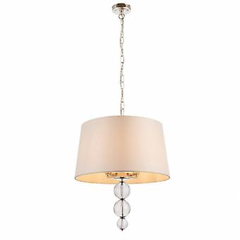 4 Light Ceiling Pendant Polished Nickel With Single Marble Silk Shade