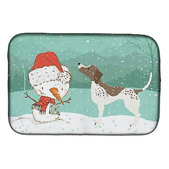 Tyska Shorthair snögubbe Christmas skålen torkmatta