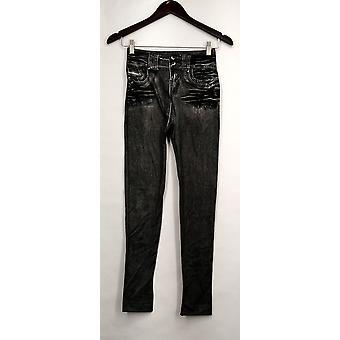 Slim 'N Lift Leggings S/M Caresse Knit Ankle Length Pull-On Black C415986