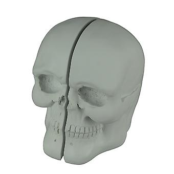 White Skull Left and Right Half Bookend Set