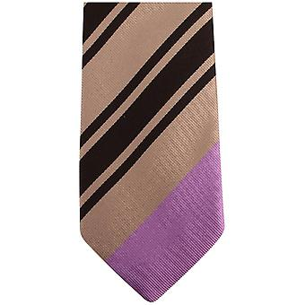 Gene Meyer New Pensworth Diagonal Striped Tie - Black/Gold/Lilac