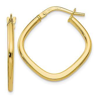 2mm 10k Ouro Amarelo Polido Brincos de Argola Quadrada Brindes joias para mulheres